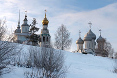 Vologda kremlin. Journey to the North of Russia. View from the frozen Vologda River. Church of Alexander Nevsky. Resurrection Cathedral, St. Sophia Cathedral Stock Photos
