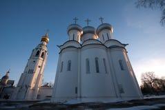 Vologda Kremlin Saint Sophia. Saint Sophia orthodox cathedral and church of Resurrection of Jesus, Vologda Kremlin, Russia royalty free stock photography