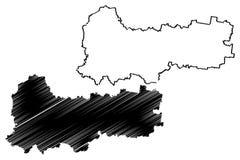 Vologda Oblast mapy wektor royalty ilustracja