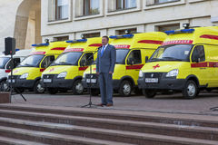 Vologda Region Governor Oleg Kuvshinnikov during transmission ambulance clinics Vologda and Cherepovets Stock Images