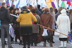 """Vologda, RUSLAND †""""10 MAART: demonstratie van de Krim aan de bijeenkomst van Rusland op 10 Maart, 2014 royalty-vrije stock foto's"""