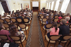 Vologda, RUSSIA – JUNE 6: Rewarding young professionals in the administration of Vologda JUNE 6, 2014 Royalty Free Stock Photo