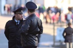 Vologda, RUSSIA – MARCH 10: Russian police officers in policing on March 10, 2014 Stock Photography