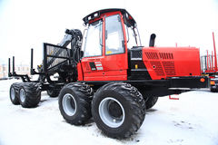 Vologda, RUSSIA - DEC 5: Exhibition of heavy equipment Russian forest. December 5, 2013 in Vologda Stock Photo