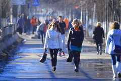 Vologda, RUSSIA – MARCH 10: crowd of people on the street, pedestrians on March 10, 2014 Stock Photos