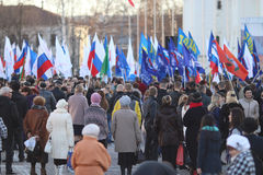 Vologda, RUSSIA – MARCH 10: demonstration of the Crimea to Russia reunion on March 10, 2014 Stock Image