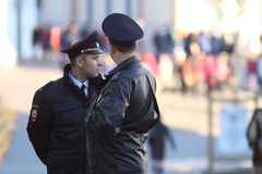 Vologda, RUSSIA – MARCH 10: Russian police officers in policing on March 10, 2014 Stock Photo