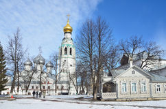 Vologda, Russia, March, 09,2014. Russian scene:people walking in the Kremlin in Vologda in early spring Royalty Free Stock Photo