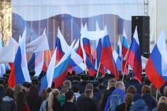 Vologda RYSSLAND —MARS 10: demonstration av Krimet till det Ryssland mötet på mars 10, 2014 Royaltyfri Bild