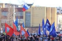 Vologda RYSSLAND —MARS 10: demonstration av Krimet till det Ryssland mötet på mars 10, 2014 Royaltyfria Bilder