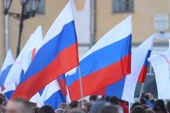 Vologda RYSSLAND —MARS 10: demonstration av Krimet till det Ryssland mötet på mars 10, 2014 Arkivbilder