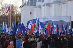 Vologda RYSSLAND —MARS 10: demonstration av Krimet till det Ryssland mötet på mars 10, 2014 Royaltyfri Foto