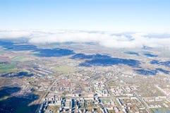 Vologda stadsfågelperspektiv Aerophotographing Vologda hus Arkivbild