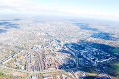 Vologda stadsfågelperspektiv Aerophotographing Vologda hus Arkivbilder