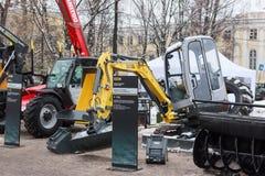 Mini excavator. Vologda, Vologda Region / Russia - 12 06 2017: Exibition `Russian Forest 2017`.Mini excavator stock image