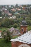 Volokolamsk克里姆林宫,俄罗斯 城市的看法从钟楼的 免版税库存图片