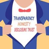 Volontà corporativa dell'agenda politica di significato di concetto di fiducia di rivelazione di onestà della trasparenza di scri illustrazione di stock