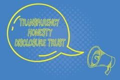 Volontà corporativa dell'agenda politica di significato di concetto di fiducia di rivelazione di onestà della trasparenza di scri illustrazione vettoriale