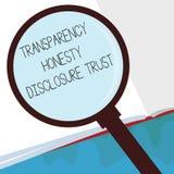 Volontà corporativa dell'agenda politica di significato di concetto di fiducia di rivelazione di onestà della trasparenza di test illustrazione vettoriale