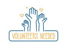 Volontärer behövd banerdesign Vektorillustration för välgörenhet, volontärarbete, gemenskaphjälp Folkmassa med lyftta händer stock illustrationer