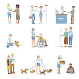 Volontärer som hjälper i olika lägen stock illustrationer