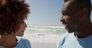 Volontärer som påverkar varandra med de på stranden 4k lager videofilmer