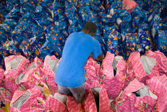 Volontaire de mâle avec des sacs de nourriture Image stock