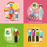 Volonteer childcare care pensioners social benefit Royalty Free Stock Photography