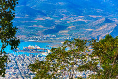 Volos city view from Pelion mount, Greece Royalty Free Stock Photos