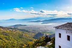 Volos city view from Pelion mount, Greece. Volos city and sea gulf aerial view from Pelion mount, Greece Stock Images