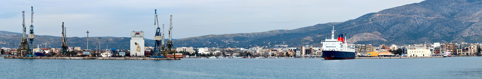 Volos harbor, panoranic view. Port of Volos, harbor, Greece, panoranic view from the sea Stock Images