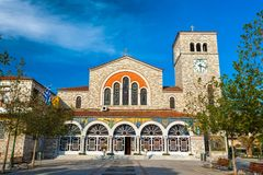 Volos, Magnisia, Hellas, Greece - April 2017. Beautiful Catholic church of the Annunciation, with wall paintings Stock Photo