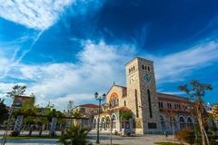 Volos, Magnisia, Hellas, Greece - April 2017. Beautiful Catholic church of the Annunciation, with wall paintings royalty free stock photos