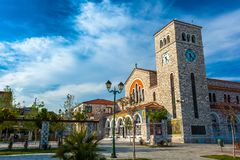Volos, Magnisia, Hellas, Greece - April 2017. Beautiful Catholic church of the Annunciation, with wall paintings Royalty Free Stock Image