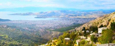 Volos-Stadtansicht von Pelions-Berg, Griechenland lizenzfreie stockfotografie