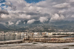 Volos Town. And pellion mountain with clouds stock images