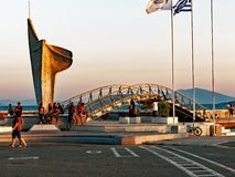 Volos Waterfront, Greece. Late afternoon-evening-sunset on a foot bridge on the waterfront in Volos, a Greek port city, Greece royalty free stock photography