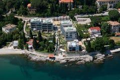 Volosko-Opatija bay air photo in Croatia Stock Image