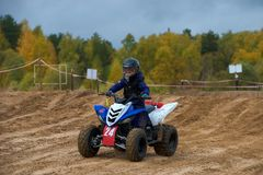 Volostnykh Boris 24. SERPUKHOV, RUSSIA - OCTOBER 7, 2017: Volostnykh Boris 24, Class ATV-JUNIORS, in the 4 stage MX series, the Red Wings Cup 2017 super country stock photos