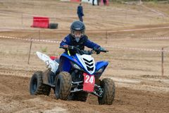 Volostnykh Boris 24. SERPUKHOV, RUSSIA - OCTOBER 7, 2017: Volostnykh Boris 24, Class ATV-JUNIORS, in the 4 stage MX series, the Red Wings Cup 2017 super country stock image