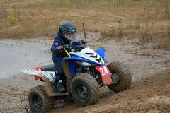 Volostnykh Boris 24. SERPUKHOV, RUSSIA - OCTOBER 7, 2017: Volostnykh Boris 24,  Class ATV-JUNIORS, in the 4 stage  MX series, the Red Wings Cup 2017 super Stock Photos