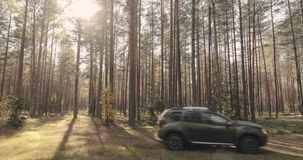 Volova Gora, Belarus - October 6, 2018: Car Renault Duster SUV in motion in autumn forest landscape. Duster produced. Jointly by French manufacturer Renault and stock video footage