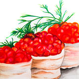Volovany with red salmon caviar - marker drawing, sketch. Royalty Free Stock Photography