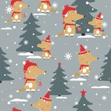 Volpi, abeti, neve, modello senza cuciture royalty illustrazione gratis