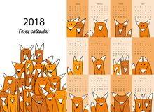 Volpi divertenti, progettazione del calendario 2018 illustrazione di stock