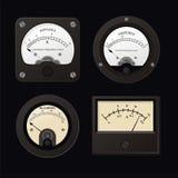 Volt-Amper. Vector Ampermeter, Voltmeter and Microampere Meter Stock Image