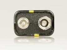 9 volt batterislut upp Royaltyfri Foto