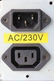 220-Volt-Energieeinlaß und -ausgang für Stromversorgung Stockfoto