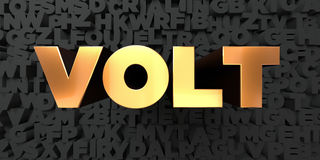 Volt - Gold text on black background - 3D rendered royalty free stock picture. This image can be used for an online website banner ad or a print postcard Royalty Free Stock Photography