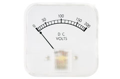 Volt Meter. This is an analog DC volt meter isolated on white Stock Photo